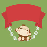 Cute monkey. Happy New Year 2016. Vector Illustration