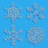 Set of decorative snowflakes. Vector illustration.