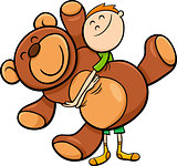 boy with big teddy cartoon