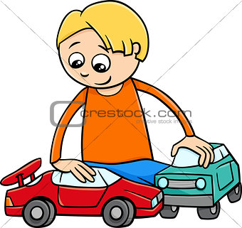 boy with toy cars cartoon