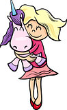 girl with toy unicorn cartoon