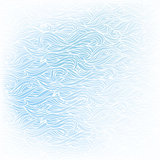 Wavy hand-drawn white pattern on blue background
