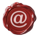 Red wax email seal with commercial at symbol isolated