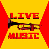 live music trumpet yellow and red