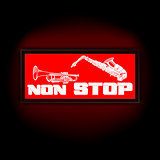 sign non-stop music with trumpet and saxophone