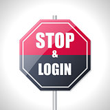 Stop and login bicolor traffic sign