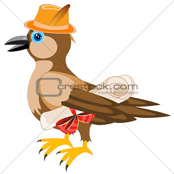 Gray sparrow in hat