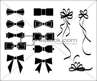 Bow set. Black and white silhouette