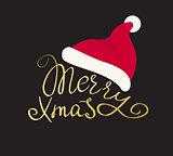 Merry Christmas golden handmade lettering inscription