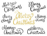 Set of Merry Christmas handmade lettering inscriptions