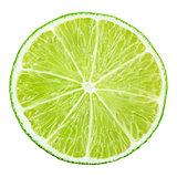 Slice of lime citrus fruit on white