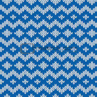 Knitted Seamless Pattern in Blue and Light Gray