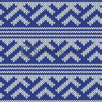 Knitted Seamless Pattern in Retro Style