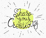 Share your creativity handwritten design
