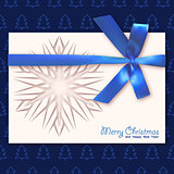 Christmas card with a blue bow