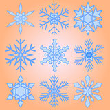 A set of nine snowflakes Christmas