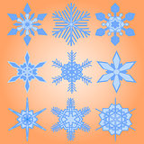 Christmas set of nine snowflakes