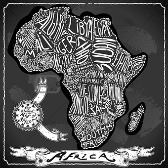 Africa Map 02 Vintage Blackboard 2D