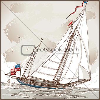 American Yacht 01 Vintage 2D
