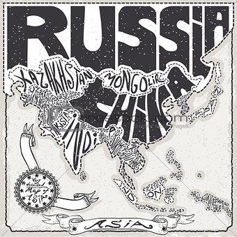Asia Map 01 Vintage 2D