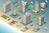 Beach Hotel 01 Building Isometric