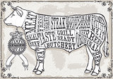 Beef Cuts 01 Vintage 2D