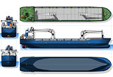 Cargo Ship 02 Blueprint 2D