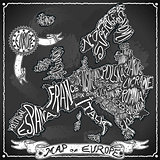 Europe Map 02 Vintage Blackboard 2D