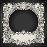 Floral Frame 01 Vintage Blackboard 2D