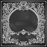 Floral Frame 02 Vintage Blackboard 2D