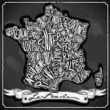 France Map 02 Vintage Blackboard 2D