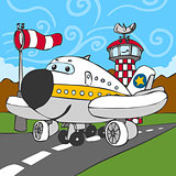 Funny Airplane Characters Cartoon