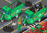 Garbage Rickshaw 03 Vehicle Isometric