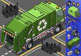 Garbage Truck 10 Vehicle Isometric