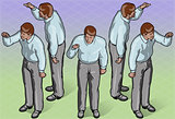 Indicating 01 Man People Isometric