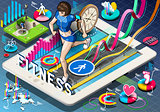 Jogging App Infographic Isometric