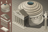 Pantheon Rome Building Isometric