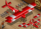 Red Biplane 01 Vehicle Isometric