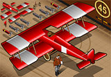 Red Biplane 02 Vehicle Isometric