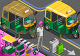 Rickshaw 04 Vehicle Isometric