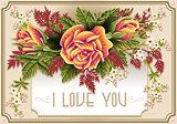 Roses Frame 02 Vintage 2D