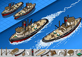 Tugboat 01 Vehicle Isometric