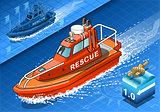 Rescue Boat 01 Vehicle Isometric