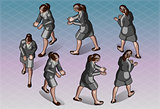 Walking Woman 01 People Isometric