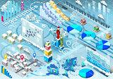Winter Set Infographic Isometric