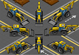 Yellow Backhoe 01 Vehicle Isometric