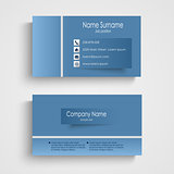 Modern blue business card with sticker template