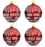 christmas balls with four languages NL, I, P, CZ