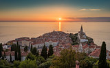 Sunset Over Adriatic Sea and Old Town of Piran, Slovenia