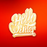 Hello winter text lettering for greeting card